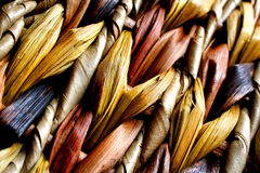 Woven straw. Close-up of a woven basket royalty free stock images