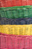 Woven straw baskets Stock Image
