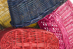 Woven straw baskets Stock Photos
