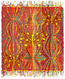 Woven tapestry with striped colorful pattern and applique of abstract golden butterfly                       Stock Image