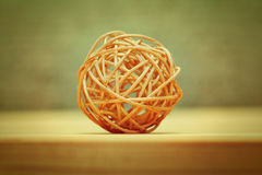 Woven wicker or bamboo balls used for decorating Royalty Free Stock Photo