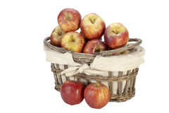 Woven Wicker Basket with Lining Overflowing with Apples Stock Photography
