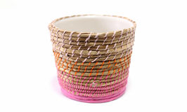 Woven wicker basket. White background Royalty Free Stock Image