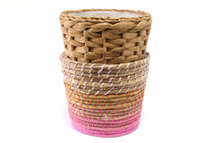 Woven wicker basket. White background Stock Photos