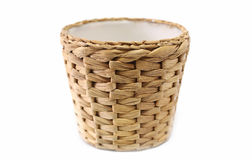 Woven wicker basket. White background Stock Photography