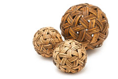 Woven wickerwork balls  made from bamboo Stock Photos