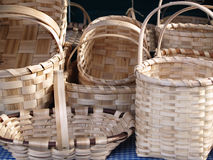 Woven Wood Baskets in a market Stock Photo