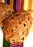 Woven wooden ball. Close-up woven wooden ball royalty free stock photos