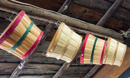 Woven wooden baskets hanging Royalty Free Stock Images