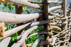 Woven wooden fence made of thin old twigs. A woven wooden fence made of thin old branches in the countryside royalty free stock images