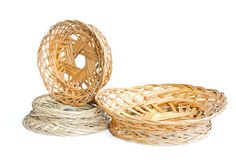Woven wooden fruit or bread baskets Stock Photos