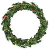 Woven Wreath with Gold Ribbon and Berries Royalty Free Stock Photo