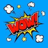 Wow! Κωμική λεκτική φυσαλίδα, κινούμενα σχέδια Στοκ Φωτογραφία