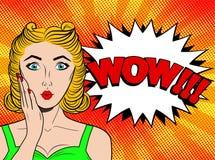 Wow λαϊκό θηλυκό πρόσωπο τέχνης Προκλητική έκπληκτη νέα γυναίκα με το ξανθό χ διανυσματική απεικόνιση