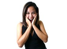 Wow!!. Portrait of asian woman Royalty Free Stock Photography