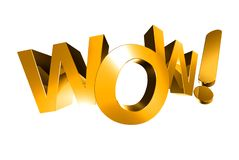 Wow 3d Gold. Royalty Free Stock Photo