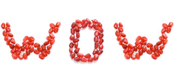 Wow. In red pomegranate letters Stock Image
