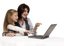 Wow. Mother and daughter astonished by the Internet Royalty Free Stock Photo