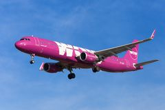 WOW Air Airbus A321. Barcelona, Spain - December 06, 2018: WOW Air Airbus A321 approaching to El Prat Airport in Barcelona, Spain stock photo