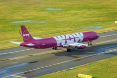 Wow Air Airbus A321. Icelandic low cost airline Wow Air Airbus A321 taxiing on taxiway royalty free stock photo