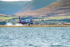 WOW Air, Airbus A320 during touchdown on Akureyri International Airport,. Akureyri, Iceland, September 2017, WOW Air, Airbus A320 during touchdown on Akureyri stock photos