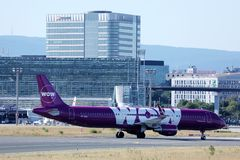 Wow Air plane taxiing on Netherlands, AMS Amsterdam Airport Schiphol. WOW air is an Icelandic low-cost carrier operating services between Iceland, Europe and royalty free stock photography
