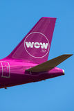 WOW air Logo. On aircraft tail royalty free stock images