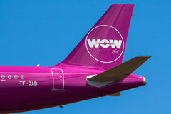 WOW air Logo. On aircraft tail Stock Photo