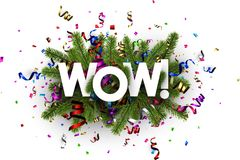 Festive wow background with serpentine. Wow background with spruce branches and colorful paper serpentine. Vector illustration Royalty Free Stock Image