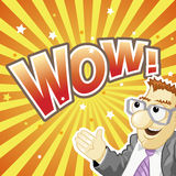 WOW Banner: Funny Surprised Man on the Yellow Rays Background Royalty Free Stock Photo