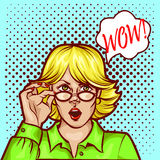 Wow bobble pop art surprised woman face. In glasses with open mouth Royalty Free Stock Photography