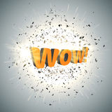 WOW. bubble on burst background with big explosion. Vector Stock Images