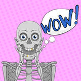 WOW! bubble emotion. Skeleton with open mouth.Vector. Royalty Free Stock Photography
