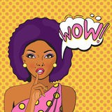 WOW bubble pop art of Negress. Thoughtful woman with her mouth open. Vintage comic poster. Pop Art illustration of a woman with the speech bubble. Party Royalty Free Stock Photography