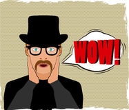 Wow bubble pop art, surprised man on dotted background Stock Photo