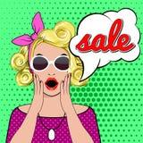 WOW bubble pop art surprised woman face. Pop art surprised blond woman face with SALE sign. illustration of SALE. Pop art illustration surprised shopping girl royalty free illustration