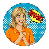 Wow bubble pop art surprised woman face. Pop Art illustration of a comic style, girl speech bubble. Royalty Free Stock Image