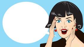 WOW bubble pop art. Surprised woman with open mouth Vintage co. WOW bubble pop art. Surprised woman with opend mouth. Vintage comic poster with a girl. Pop Art royalty free illustration