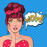 WOW bubble pop art. Surprised Woman With Open Mouth. Vintage comic poster with a girl. Pop Art illustration of a woman with the speech bubble. Party invitation Stock Image