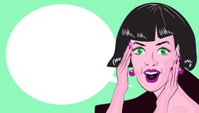 WOW bubble pop art. Surprised woman with opend mouth. Vintage. Comic poster with a girl. Pop Art illustration of a woman with the speech bubble. Copyspace vector illustration