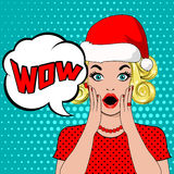 Wow bubble woman in christmas hat. Wow bubble pop art surprised blond woman in christmas hat. christmas card with young shocked blonde woman in pop art style stock illustration