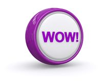Wow! button. 3d illustration of purple wow! button on white studio background Royalty Free Stock Photography