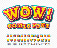 Wow. Comic font. Alphabet in style of comics, pop Royalty Free Stock Images