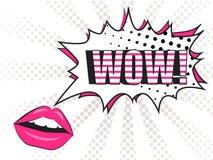 Wow! Comic Speech Bubble and lips Stock Photo