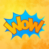 WOW comics sound effect with halftone pattern on yellow Royalty Free Stock Photos