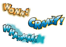 Wow Crazy Whamm. Wow! Crazy! Wham! exclamation text on white background stock illustration