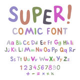 Wow. Creative high detail font for your design. The alphabet in the style of comics. Graphics pop - art on transparent background. Royalty Free Stock Photography