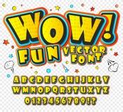 wow 3D alfabet in de stijl van strippagina Jonge geitjes Stock Foto