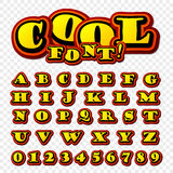Wow. 3D alphabet in the style of comics. Kids. Creative high detail font for your design. Graphics pop - art on transparent background. Bright cartoon comic Stock Images