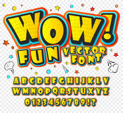 Wow. 3D alphabet in the style of comics. Kids. Creative high detail font for your design. Graphics pop - art on transparent background. Bright cartoon comic Stock Photo